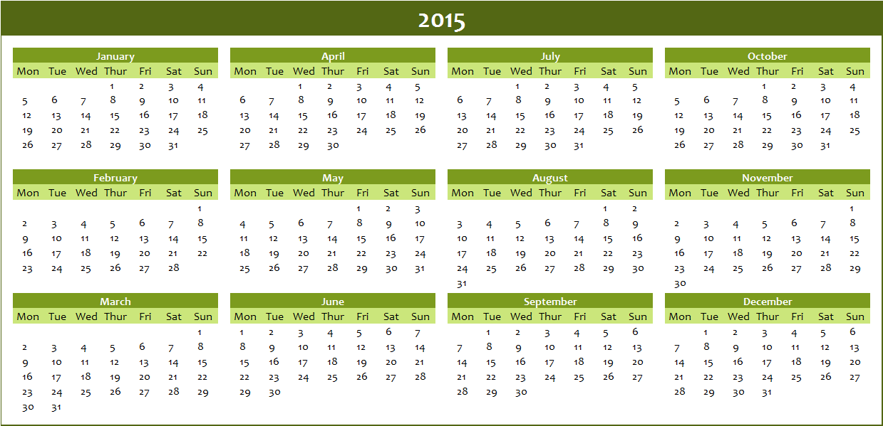 free annual calendar 2015 to download
