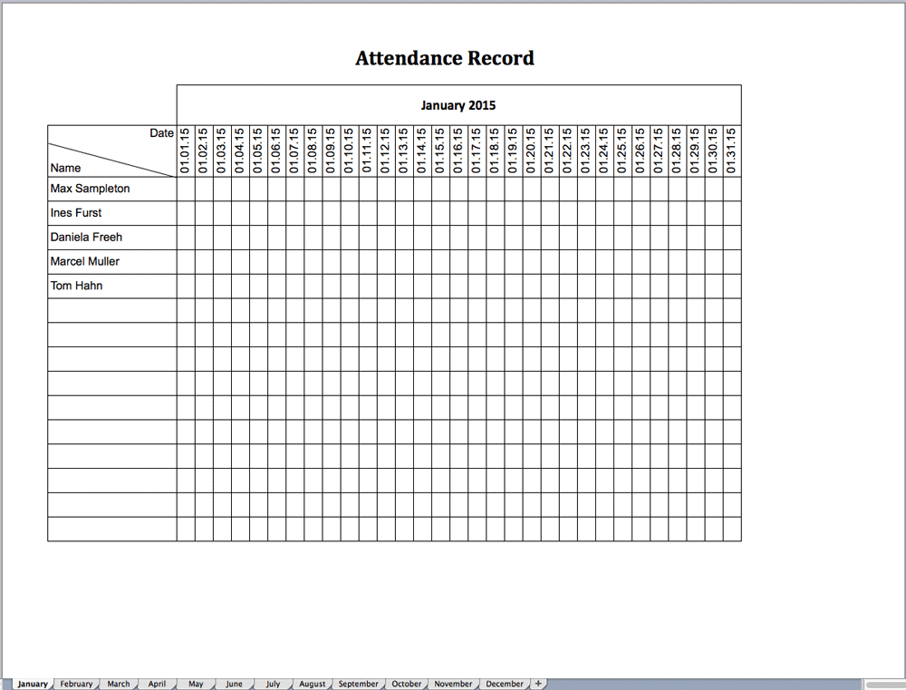 excel template for attendance record free of charge excel