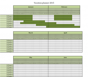 Vacation planner 2015 excel template free to download for Yearly vacation calendar template
