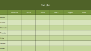 Diet plan Excel template