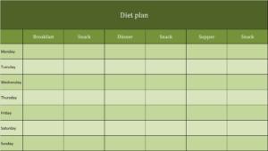 Diet plan Excel template