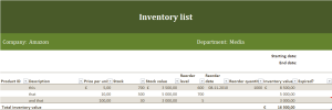 Inventory list Excel template