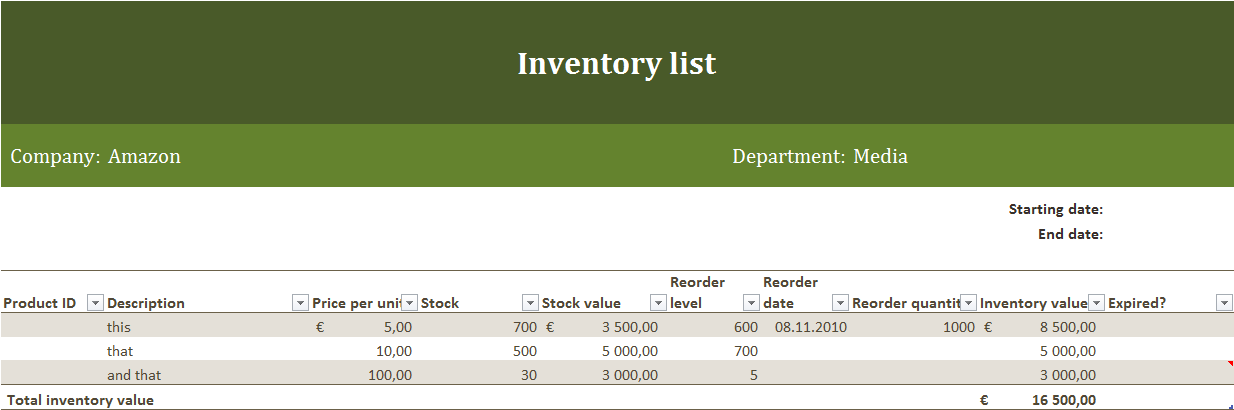 parts inventory template excel .