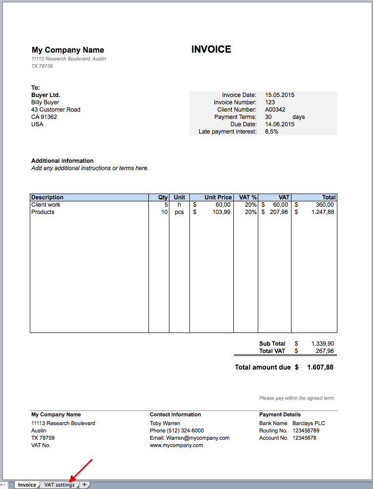 Free Invoice Excel Template Excel Templates For Every Purpose