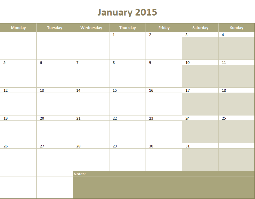 Monthly Calendar 2015 Excel Templates For Every Purpose