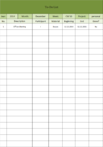 To-do list Excel template