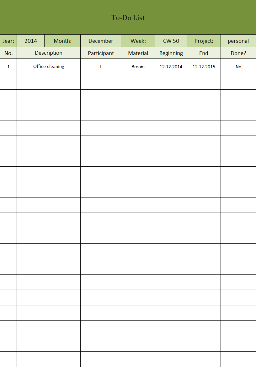 to do list in excel template