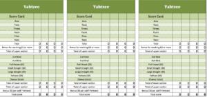 New Yahtzee-template