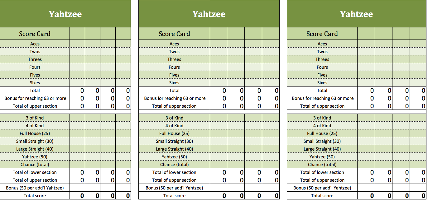 Yahtzee excel template | Excel Templates for every purpose
