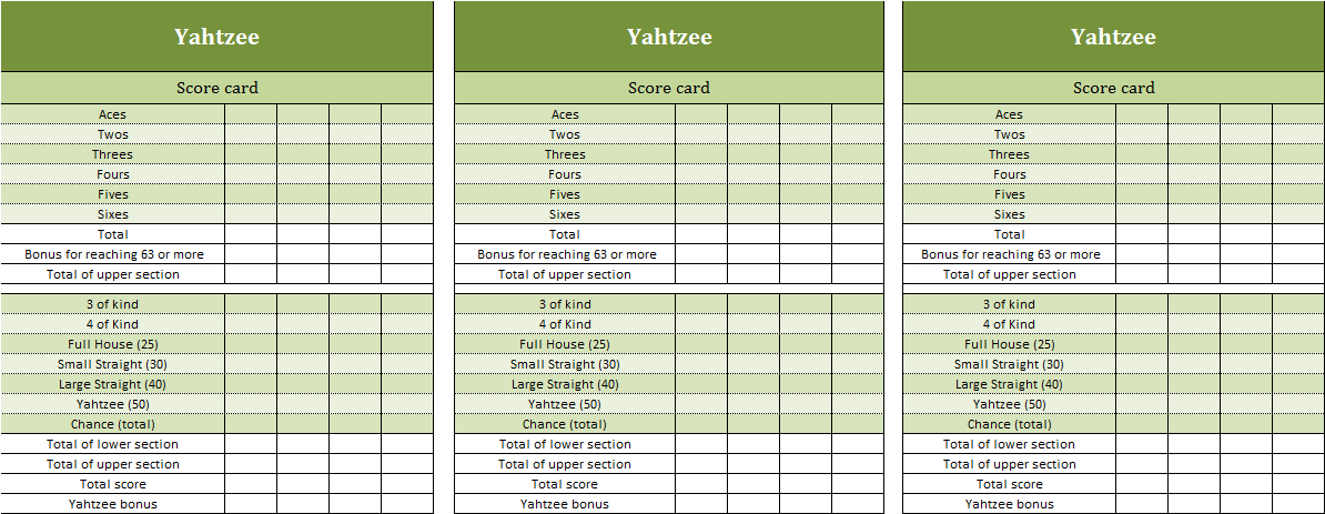 Yahtzee Excel Template Excel Templates For Every Purpose