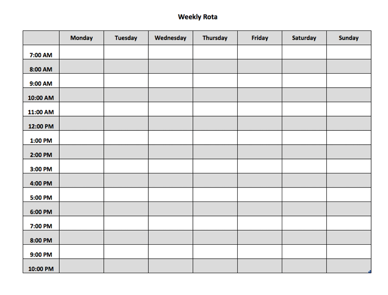 weekly rota excel template