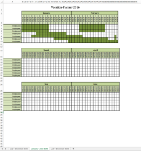 Vacation-Planner 2016 Excel-Spreadsheet
