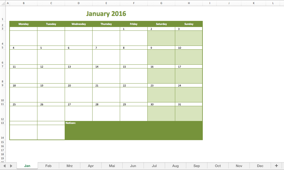 Monthly Calendar 2016 Excel Excel Templates For Every Purpose