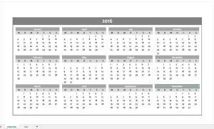 Gray Calendar-2016-Excel-Template