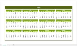 Yearly Calendar 2016 in green