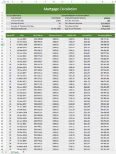 Mortgage-Calculation with an excel-template