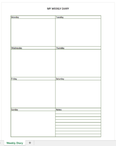 Weekly diary made with excel