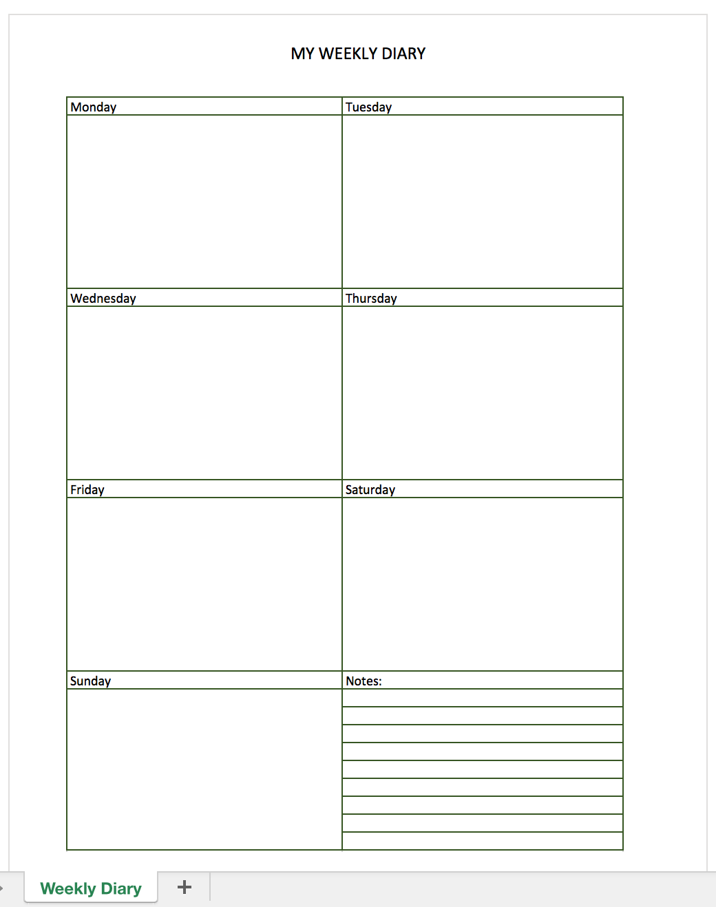 Free Diary For Excel Excel Templates For Every Purpose