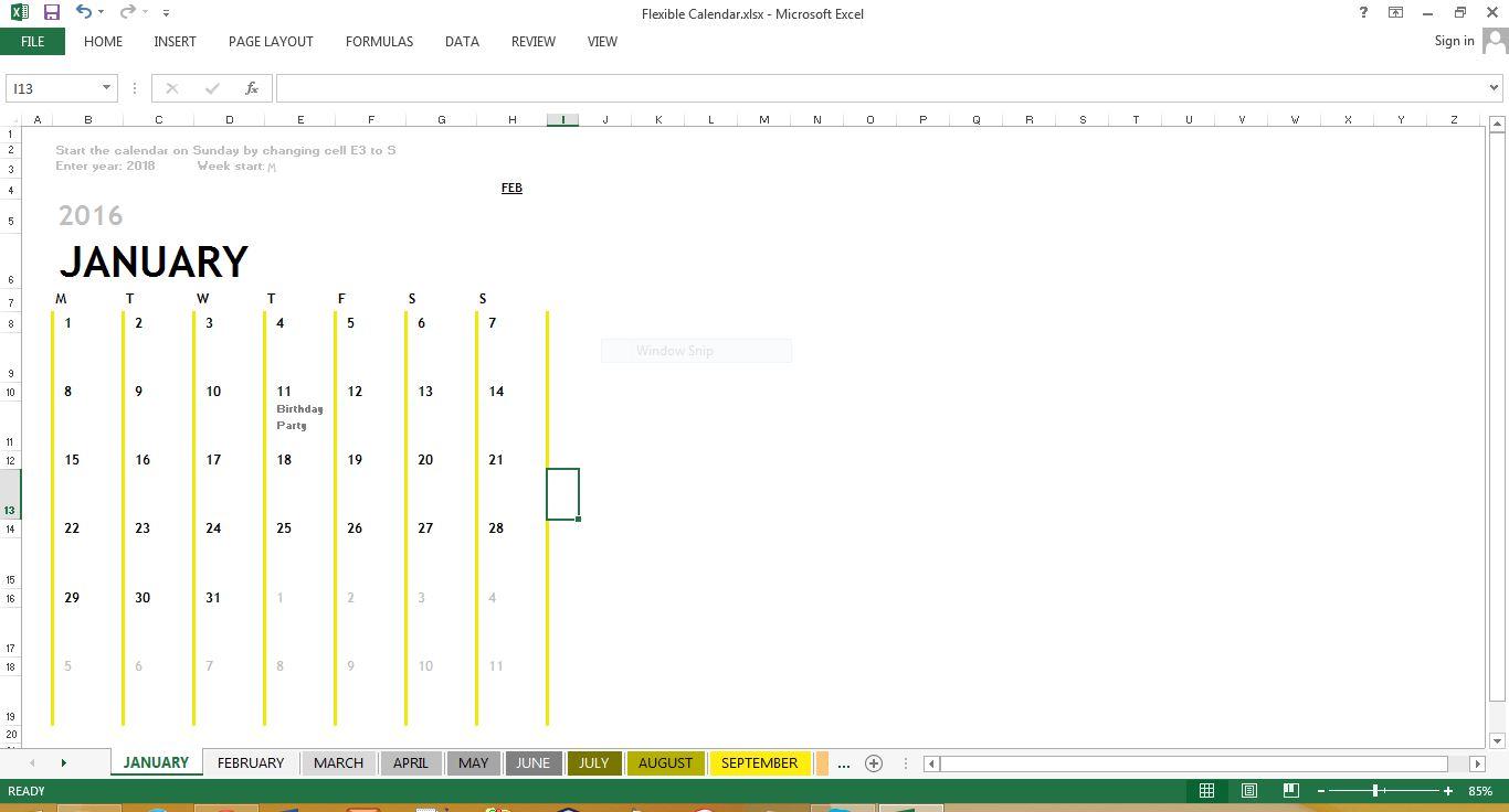 flexible calendar excel template