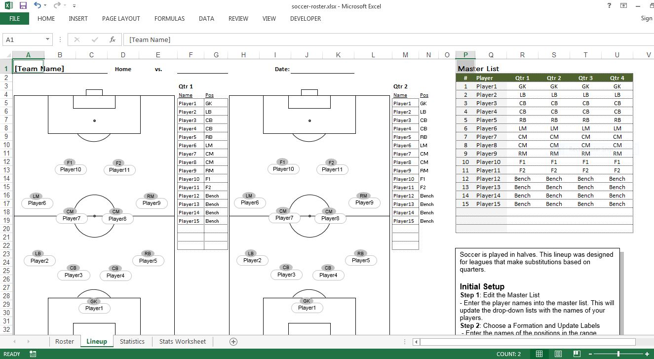 Soccer Roster Excel Template Lineup Sheet