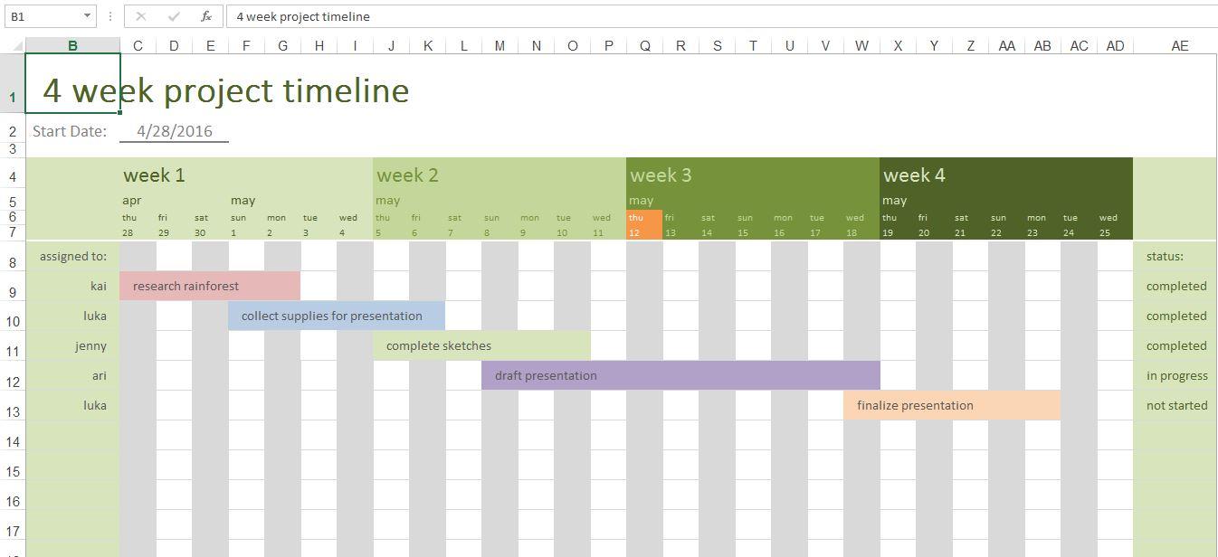 4 Week Project Timeline Screenshot