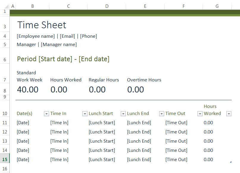 time sheet excel templates for every purpose