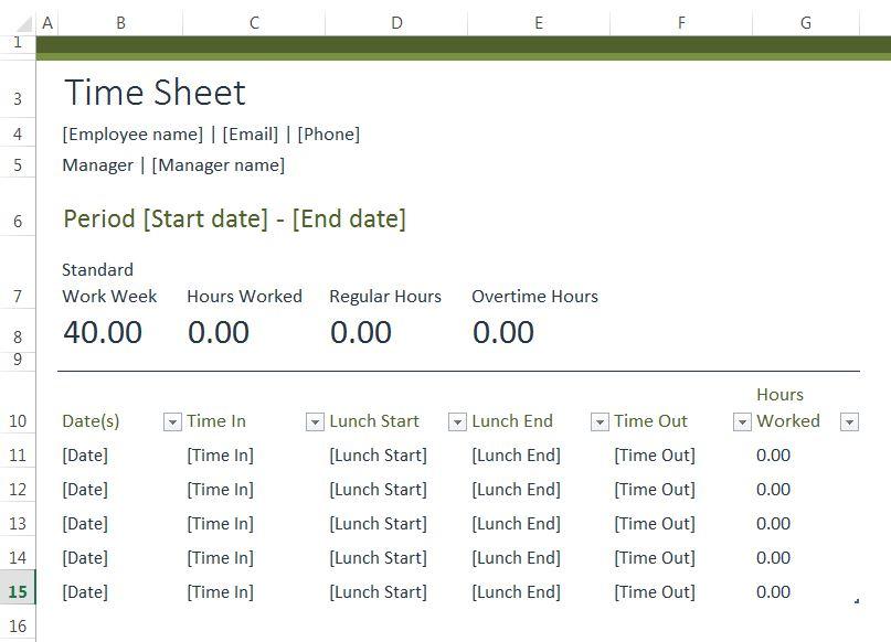 standard time sheet