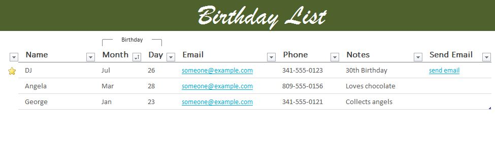 Birthday list excel templates for every purpose birthday list excel template maxwellsz