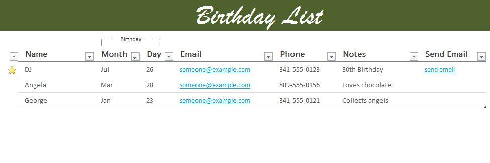 Birthday List Excel Template
