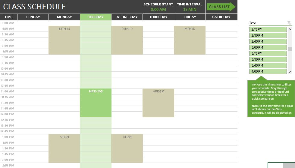 Class Scheduler Weekly Overview