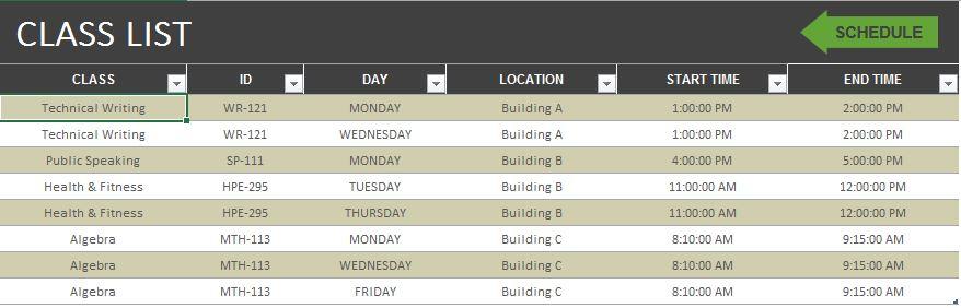 Class Scheduler MS Excel Template