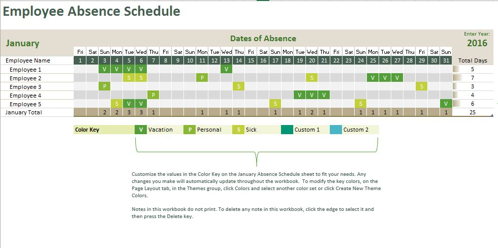 Employee Absence Tracking Calendar Free Excel Template
