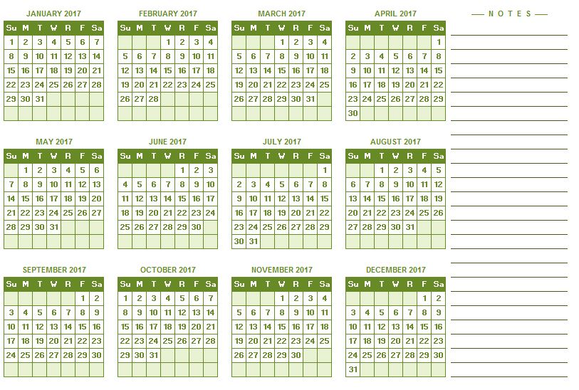 yearly calendar in excel
