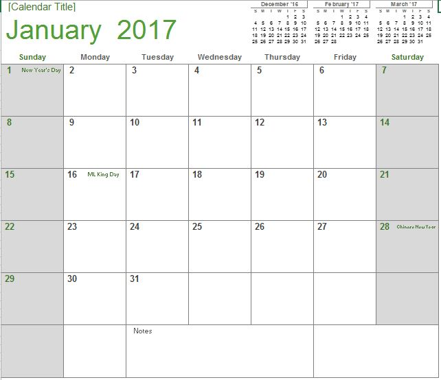 2017 Monthly Calendar Excel Templates For Every Purpose