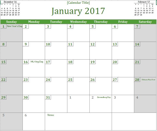 2017 monthly calendar excel templates for every purpose. Black Bedroom Furniture Sets. Home Design Ideas