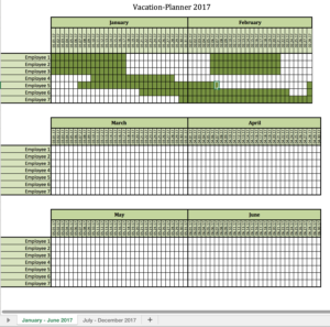 Preview of the vacation-planner 2017 with excel
