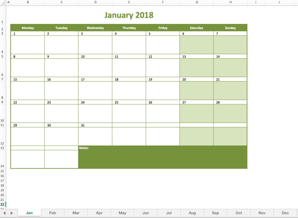 Monthly calendar for 2018 made with excel