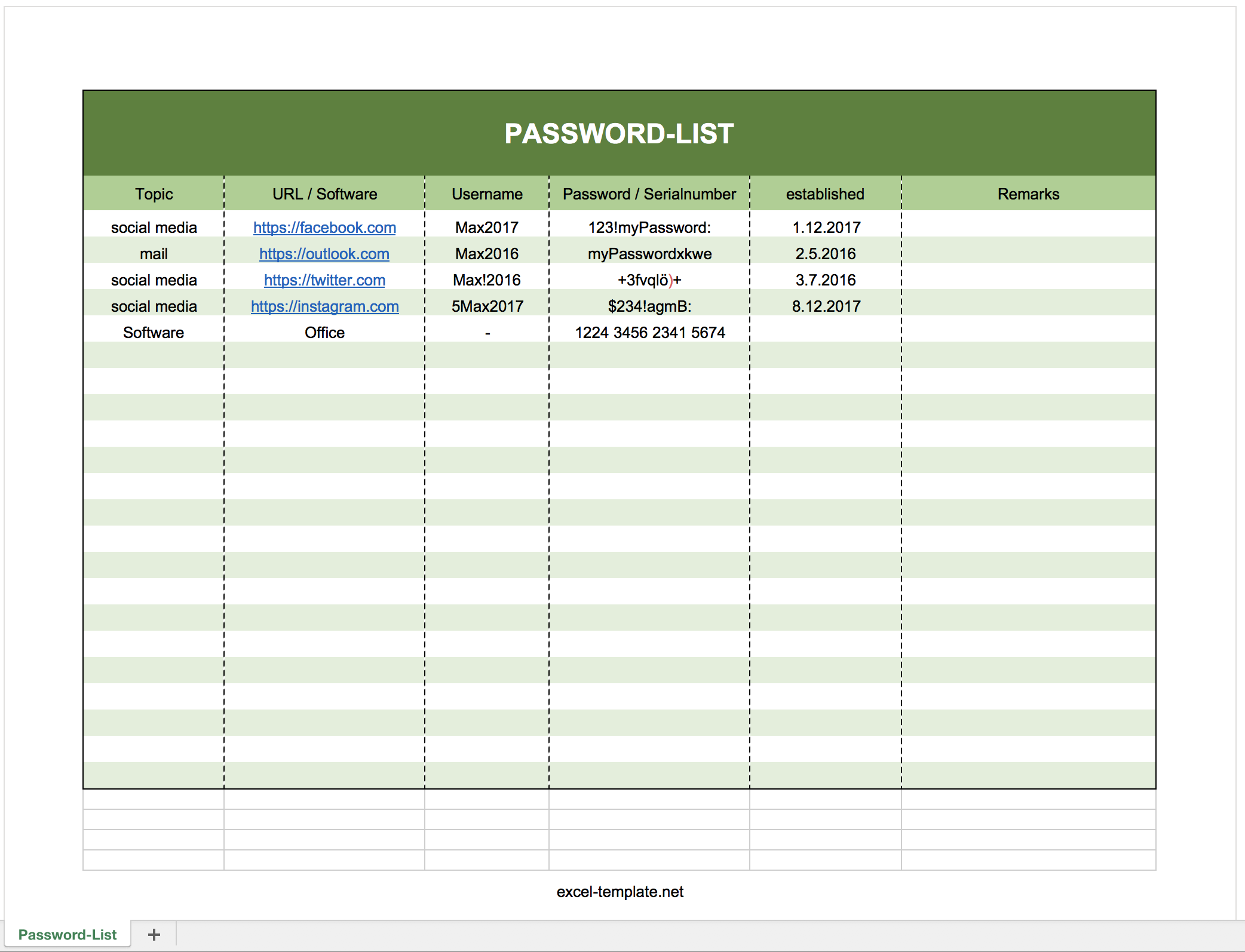 Free PasswordLogList As Excel Template Excel Templates For Every - Excel log template