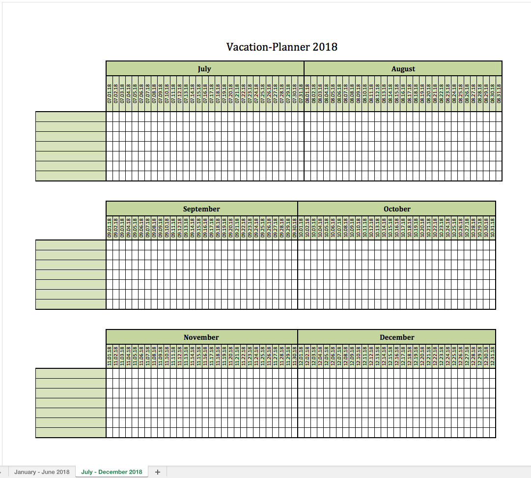 Vacation planner 2018 excel templates for every purpose for Yearly vacation calendar template