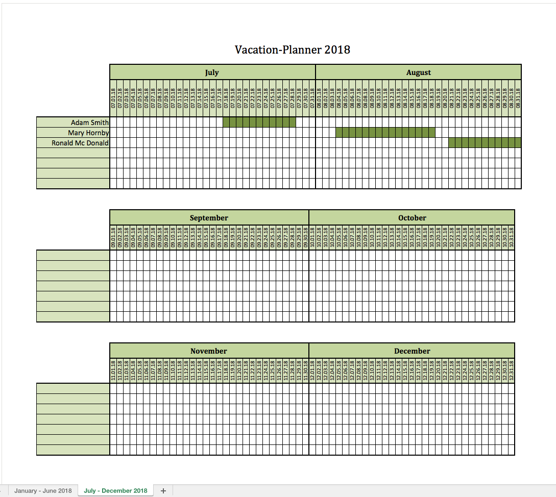 Vacation-Planner 2018 | Excel Templates for every purpose