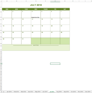 Yearly calendar 2018 excel-template