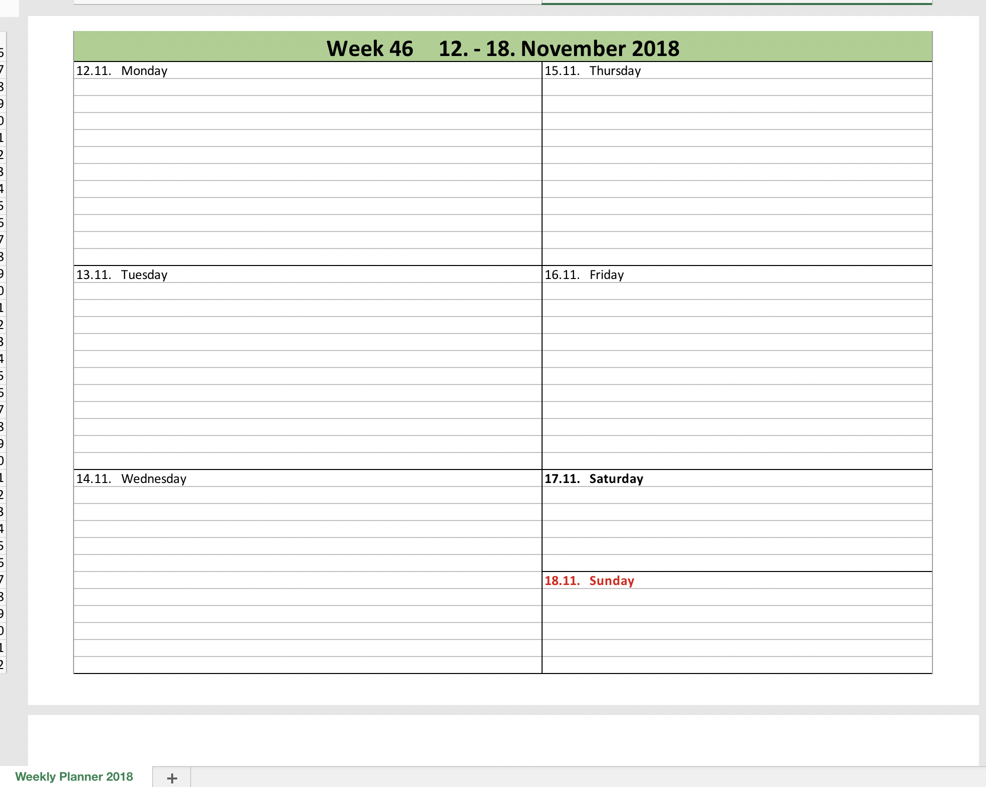 Weekly Planner 2018 with excel-template