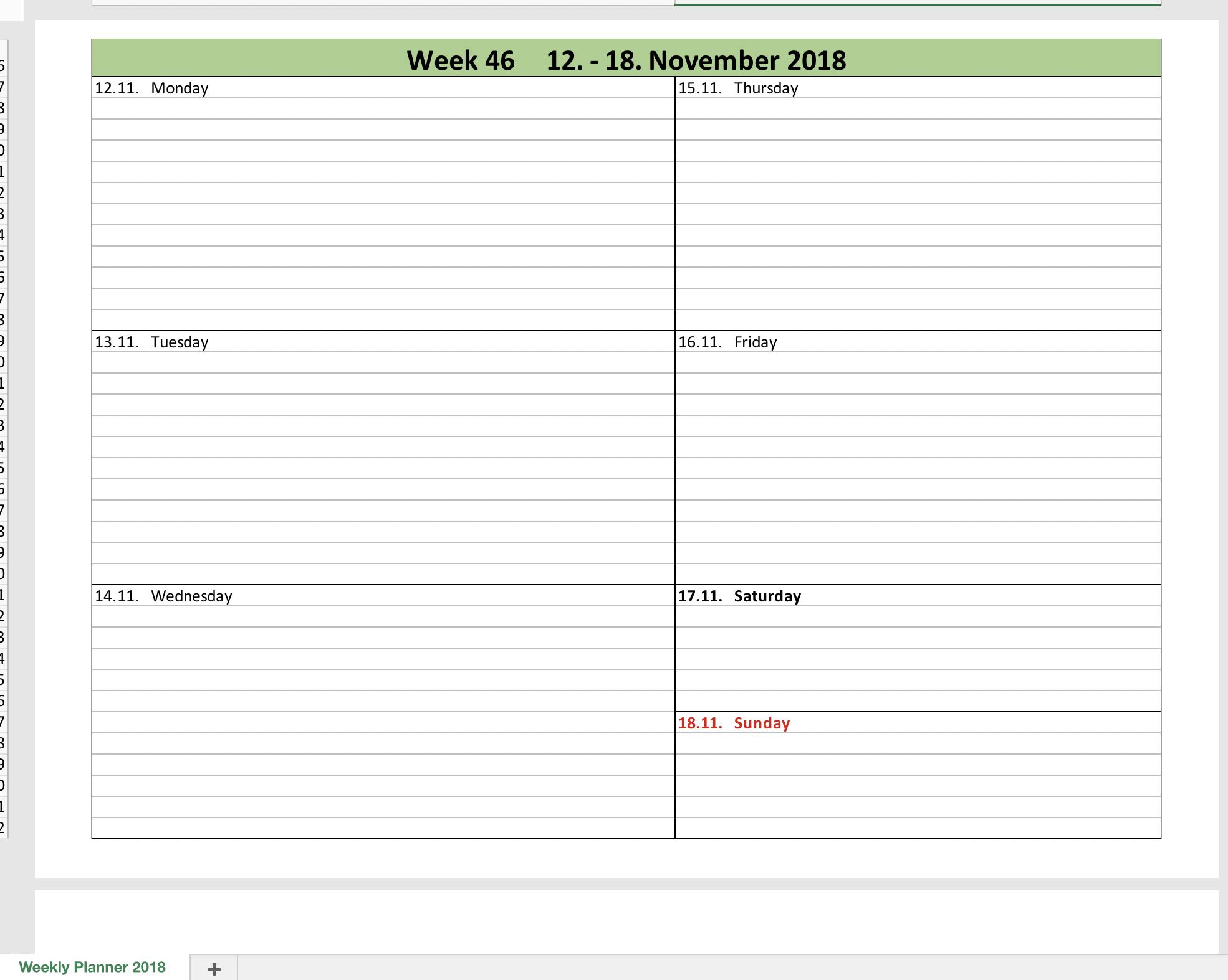 Calendar For Excel 2018 Turkeyprivate