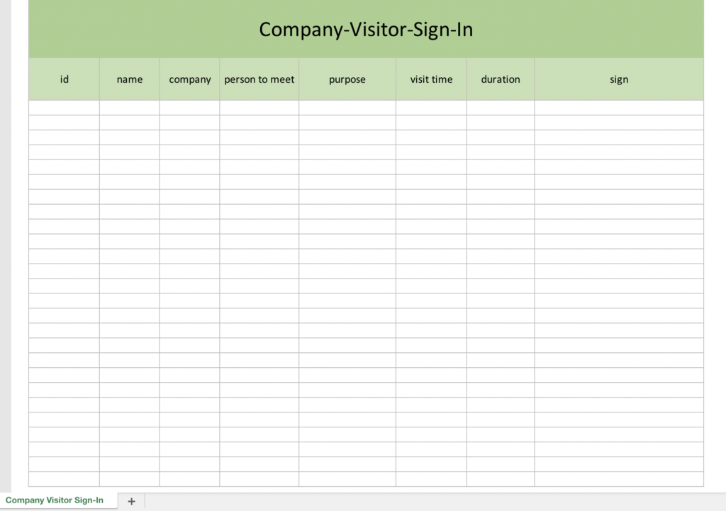 Company Visitor Sign-In Template