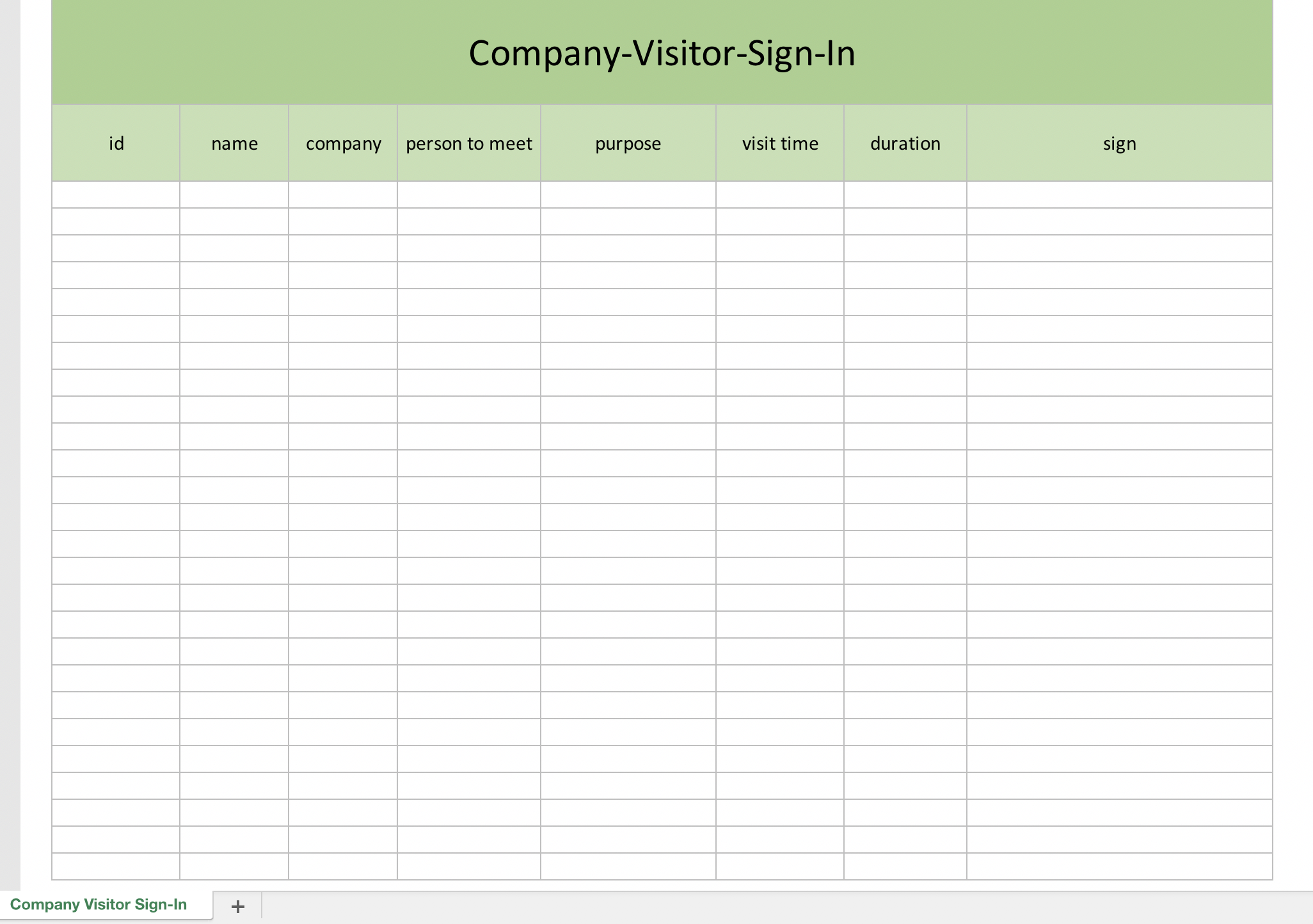 company visitor sign in list excel templates for every purpose