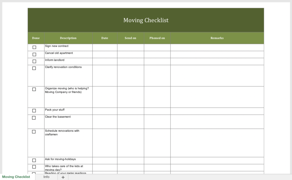 Free moving checklist for Excel and PDF