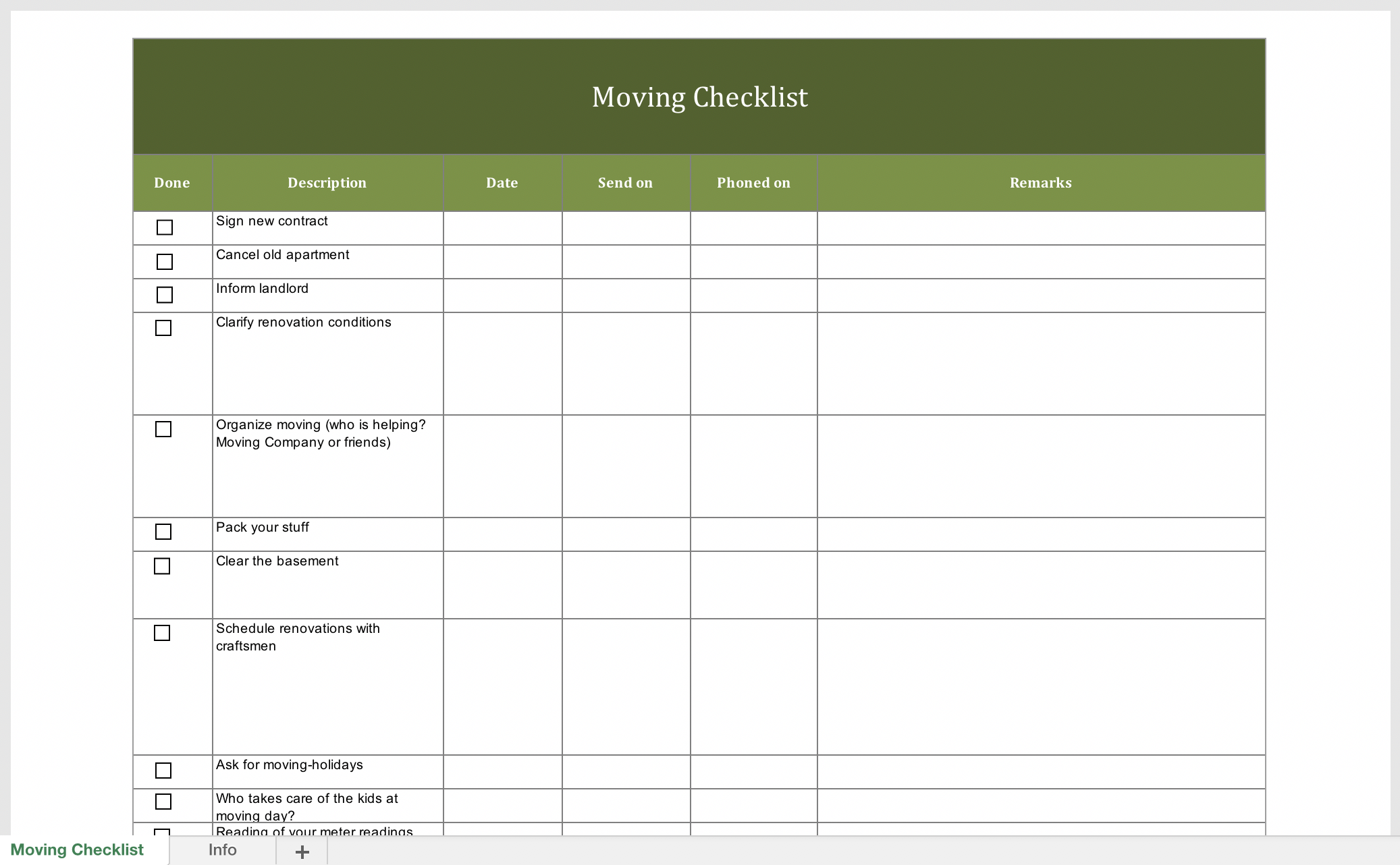 Free Moving Checklist Excel Templates For Every Purpose