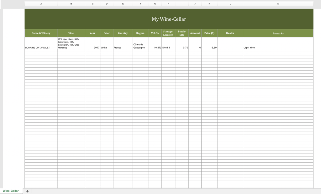 Winecellar-Inventory with Excel