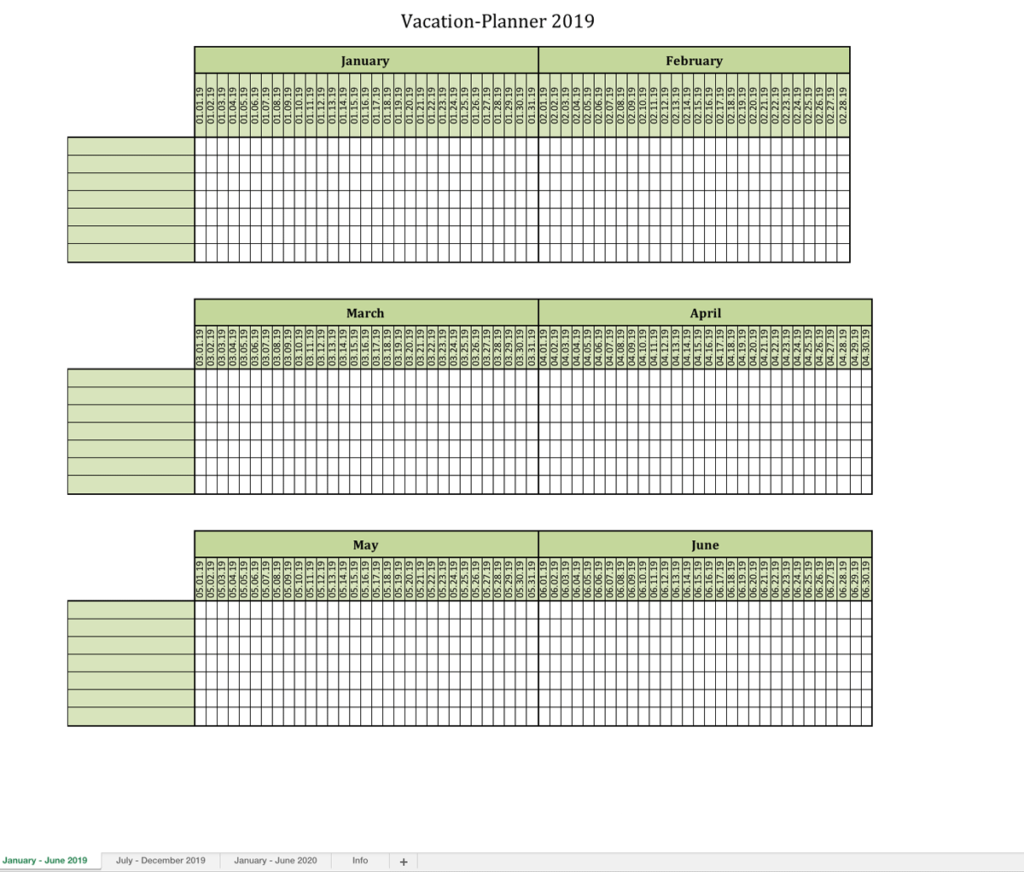 Vacation planner 2019 Excel