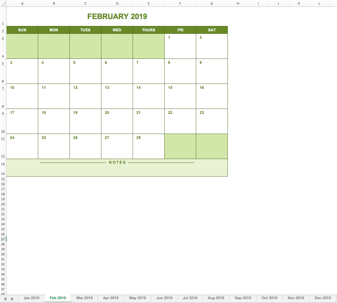 2019 full year calendar free excel template